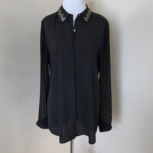 DKNYC Black Blouse with Crystal detail